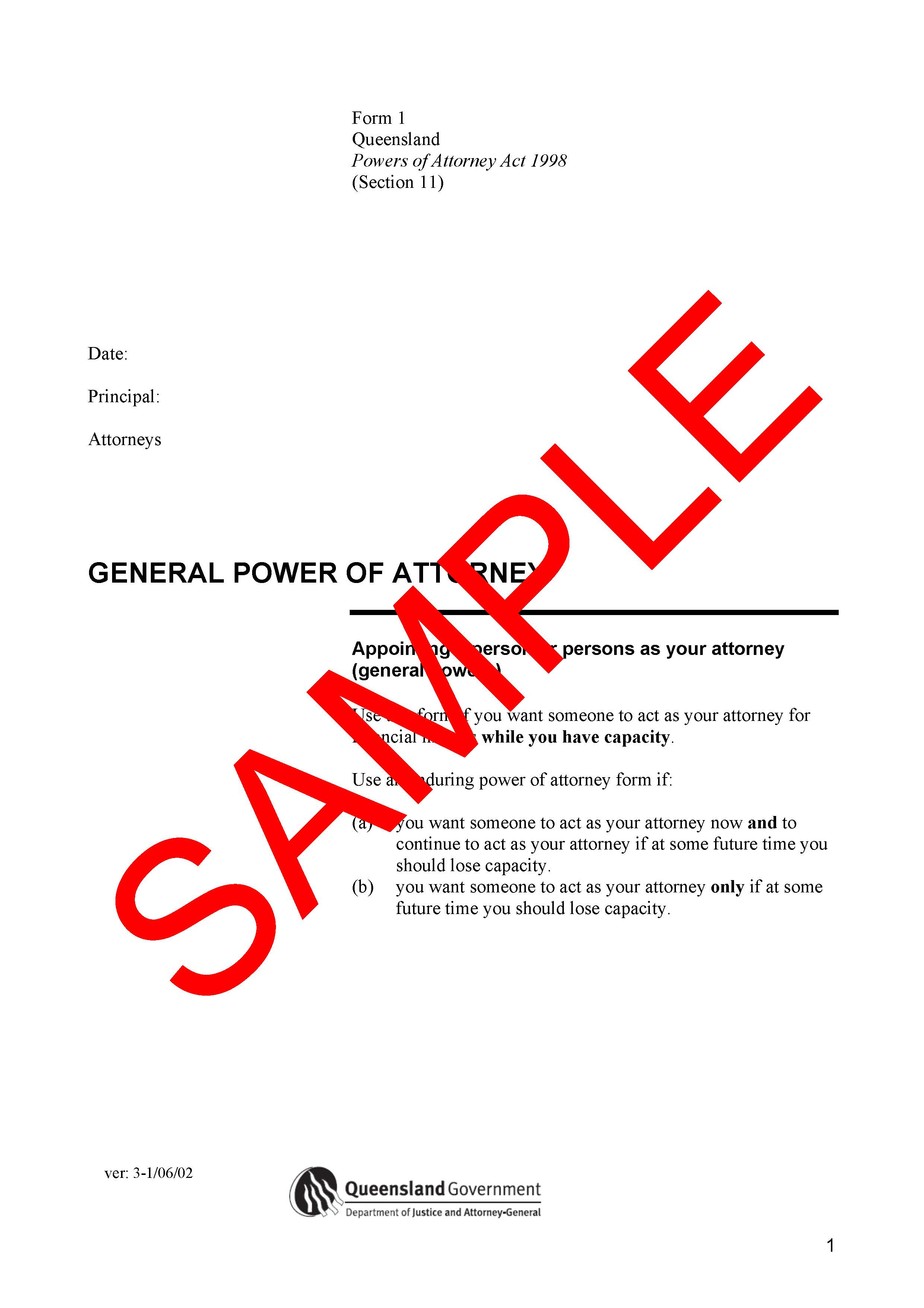 General Power Of Attorney QLD Only