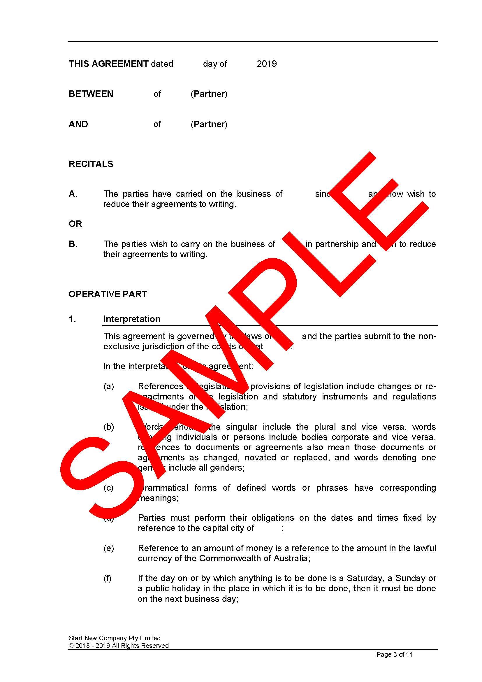 Partnership Agreement – Editable